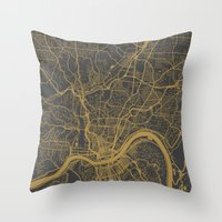 cincinnati Throw Pillows featuring Cincinnati map by Map Map Maps