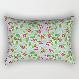 Cranberry Fruit Pattern on Blue-Grey Rectangular Pillow