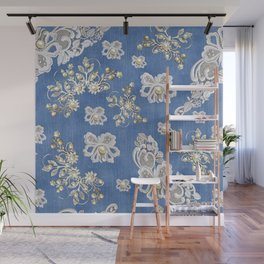 Costume jewelry, Ivory Pearls and White Lace on Blue Denim Texture Wall Mural