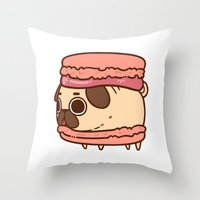 macaron Throw Pillows featuring Puglie Macaron by Puglie Pug