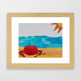 Beachy crab Framed Art Print