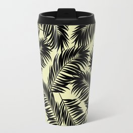 Palm Frond Tropical Décor Leaf Pattern Black on Yellow Travel Mug