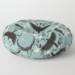 Raven Tarot blue Floor Pillow