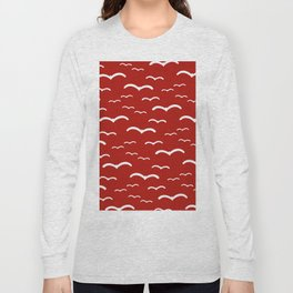 Maritime Sea Gull Pattern in Red & White - Mix & Match with Simplicity of Life Long Sleeve T-shirt