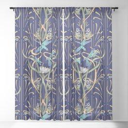 Art Nouveau Dragonflies | Navy Sheer Curtain