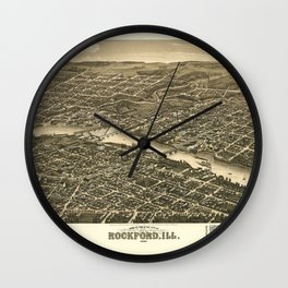 Bird's eye view of the city of Rockford, Illinois (1880) Wall Clock