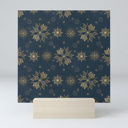Elegant Gold Blue Poinsettias Snowflakes Pattern Mini Art Print