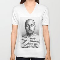 karl V-neck T-shirts featuring Karl Pilkington by Bungle