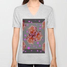 Grey & Violet Design & Old Rose flowers Pattern Art Unisex V-Neck