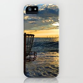 Disc Golf Basket Chesapeake Bay Virginia Beach Ocean Sunset iPhone Case