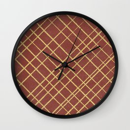 Hand Drawn Cross-Hatch (Red/Custard) Wall Clock