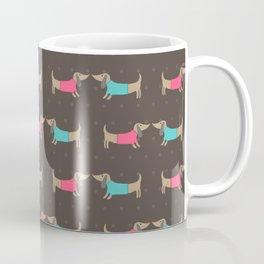 Cute dog lovers in brown background Coffee Mug