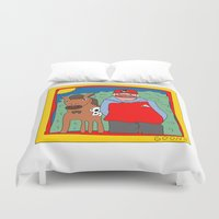 blackhawks Duvet Covers featuring Sooner by GOONS