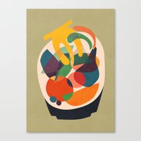 wooden Canvas Prints featuring Fruits in wooden bowl by Picomodi