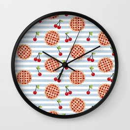 Pies with stripes trendy food fight apparel and gifts Wall Clock