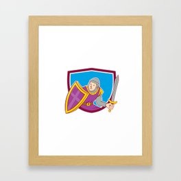 Medieval Knight Shield Sword Cartoon Framed Art Print