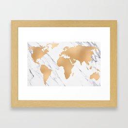 Marble World Map Copper Bronze Framed Art Print