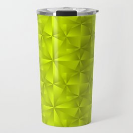 A chaotic grid of darkened rhombuses with intersecting green northern lines and stars. Travel Mug