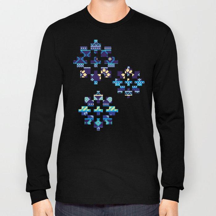 Cheery Blues Geometric Pattern Long Sleeve T-shirt