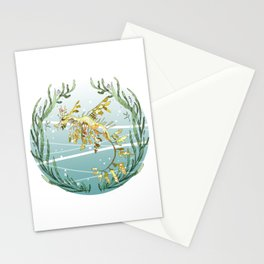 Leafy Seadragon in Gold Stationery Cards