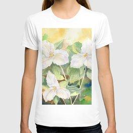 Trillium Wildflowers Watercolor  T-shirt