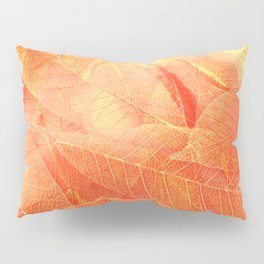 Autumn leaves macro view abstract background. Modern nature close-up photo. Pillow Sham