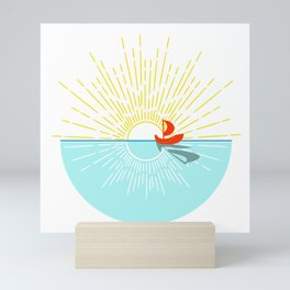 Sailing Away - Sailboat Sunset Mini Art Print