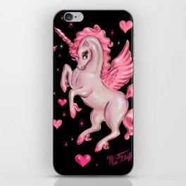 Pink Unicorn Pegasus on Black iPhone Skin