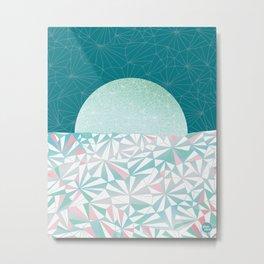 Geometric Sunrise - Teal and Pink Metal Print
