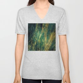Crushed Green Velvet Marble With Luxurious Gold Veins Unisex V-Neck