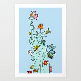 The Birds Liberty Statue Art Print