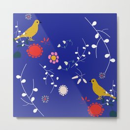 Bird and blossom electric blue Metal Print