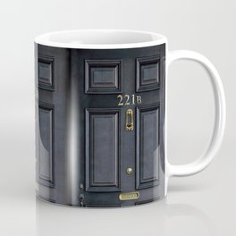 Haunted black door with 221b number Coffee Mug