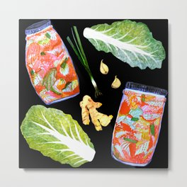 Kimchi Ingredients Fun Spicy Watercolor Black Metal Print
