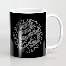 Traditional Gray and Black Chinese Dragon Circle Coffee Mug