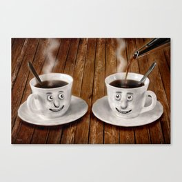 Hot Coffee Time in the Kitchen Canvas Print
