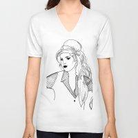 amy poehler V-neck T-shirts featuring Amy by Rosalia Mendoza
