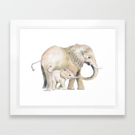 Mom and Baby Elephant 2 Framed Art Print