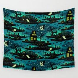 Halloween Night - Fox Fire Green Wall Tapestry