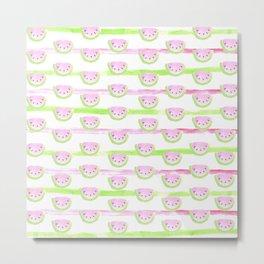 Modern pink lime green watercolor watermelon stripes Metal Print