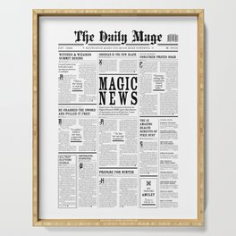 The Daily Mage Fantasy Newspaper Serving Tray
