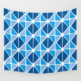 Blue Triangles Wall Tapestry