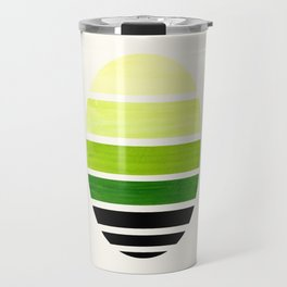 Sap Green Mid Century Modern Minimalist Circle Round Photo Staggered Sunset Geometric Stripe Design Travel Mug