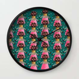 Girly african doll in pink dress Wall Clock