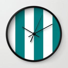 Wide Vertical Stripes - White and Dark Cyan Wall Clock