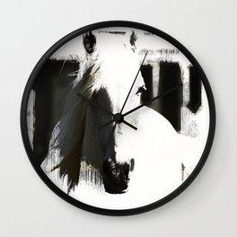 White Stallion Wall Clock