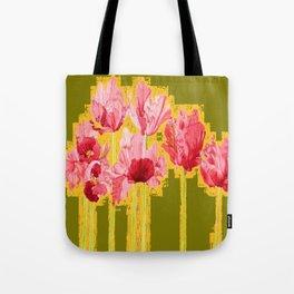 PINK-RED MODERN TULIP FLOWERS KHAKI GREEN ART Tote Bag