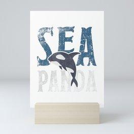 Sea Panda Orca T Shirt Save The Sea Pandas Gift Tee Mini Art Print