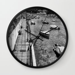West Looe River in Black and White Wall Clock