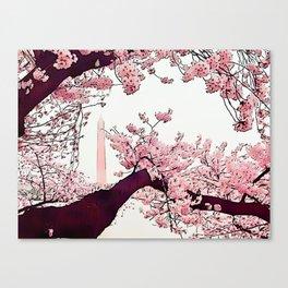 Washington Monument Amid Cherry Blossoms IV Canvas Print